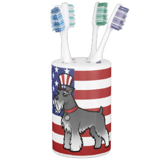 Add Your Own Pet and Flag Soap Dispenser And Toothbrush Holder