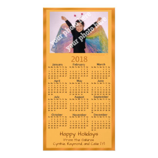 Add Your Own Photo 2018 Calendar Card Orange