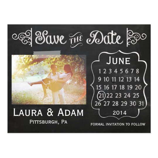 Add Your Own Photo Chalkboard Save the Date