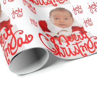 add your own photo Merry Christmas calligraphy Wrapping Paper