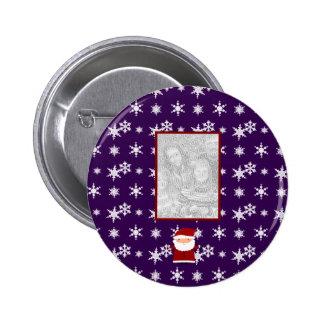 Add your own photo santa purple snowflakes 6 cm round badge