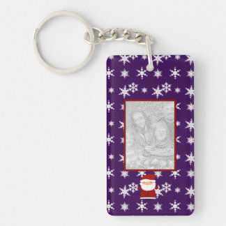 Add your own photo santa purple snowflakes rectangular acrylic keychains