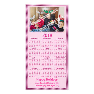 Add Your Own Photo Text 2018 Calendar Card Pink