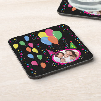 Add Your Own Photo to Party Hats and Balloons Coasters