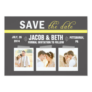 Add Your Own Photos Chevron Back Save the Date Card