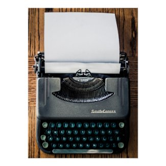 Add Your Own Text to the Typewriter Paper! Poster