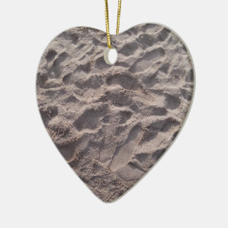 Add your own text, writing in sand, sunny beach ceramic heart decoration
