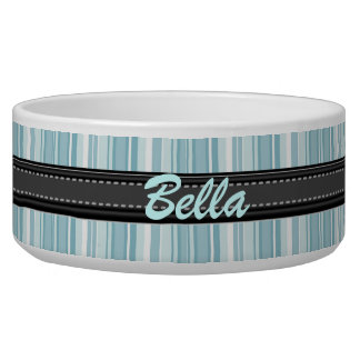 Add Your Pet's Name Blue Stripes Large Bowl Pet Water Bowl