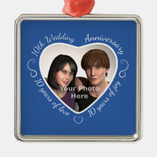 Add Your Photo 10 Years of Marriage Christmas Ornament