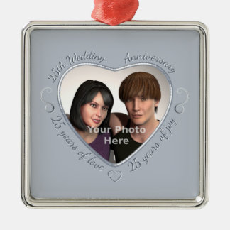 Add Your Photo 25 Years of Marriage Silver-Colored Square Decoration