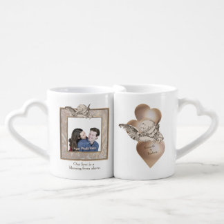 Add Your Photo Angel Ornate Gold Frame and Heart Lovers Mug Sets