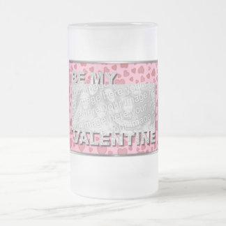 ADD Your Photo Be My Valentine Frame - Pink Hearts Coffee Mug