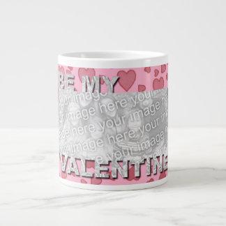ADD Your Photo Be My Valentine Frame - Pink Hearts Jumbo Mug