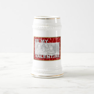 ADD Your Photo Be My Valentine Frame - Red Hearts Mugs