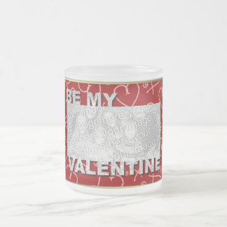 ADD Your Photo Be My Valentine Frame - Red Hearts Coffee Mugs