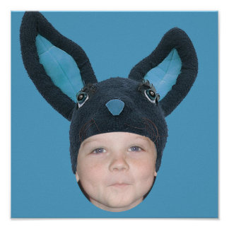 Add Your Photo Blue Bunny Ears Poster