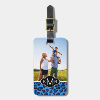 Add Your Photo | Blue Leopard Texture Luggage Tag