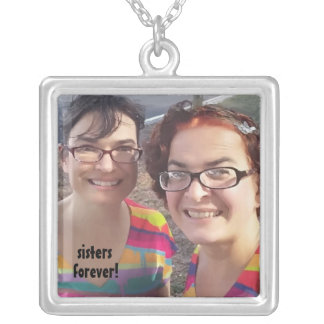 Add Your Photo Cute Sisters Forever Silver Plated Necklace