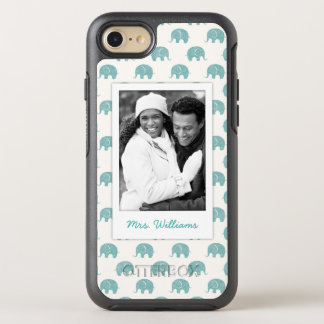 Add Your Photo | Cute Teal  Elephant Pattern OtterBox Symmetry iPhone 8/7 Case