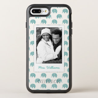 Add Your Photo | Cute Teal  Elephant Pattern OtterBox Symmetry iPhone 8 Plus/7 Plus Case