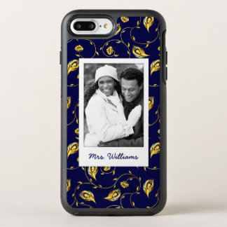 Add Your Photo | Dark Blue Peacock Pattern OtterBox Symmetry iPhone 8 Plus/7 Plus Case