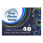 Add your photo funky 40th birthday invite navy