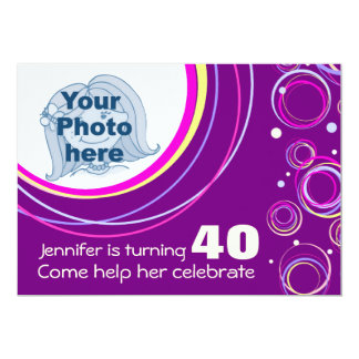 Add your photo funky 40th birthday invite purple