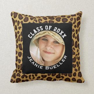 Add Your Photo Graduation Keepsake | Leopard Print Cushion