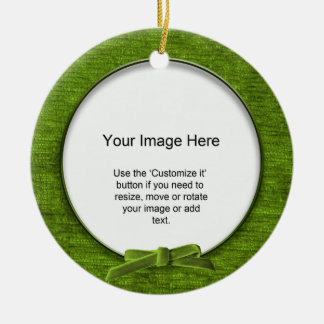 Add Your Photo - Green Chenille Round Template Christmas Ornament