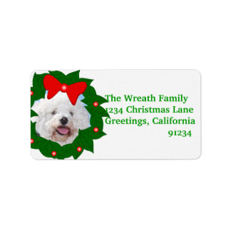 Add Your Photo In Christmas Wreath Address Labels