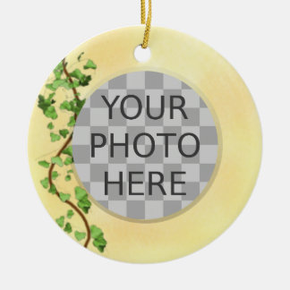 """Add Your Photo"" Italian Wall with Ivy Christmas Ornament"