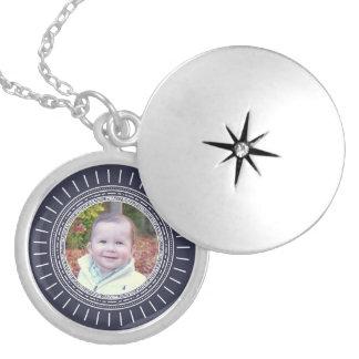 Add Your Photo | Modern Navy Blue & White Round Locket Necklace