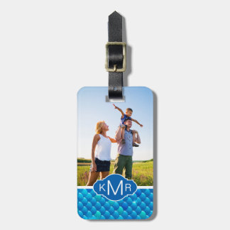 Add Your Photo | Neon Blue Fish Scales Luggage Tag