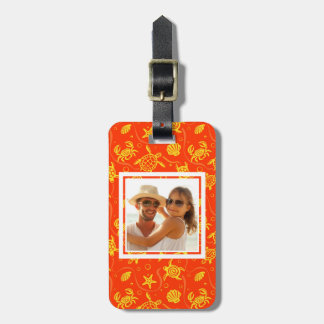 Add Your Photo | Orange Beach Pattern Luggage Tag