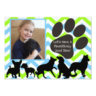 Add Your Photo Pawsitively Good Time Birthday 13 Cm X 18 Cm Invitation Card