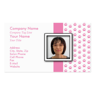 ADD YOUR PHOTO Pet Grooming Paw Print Pack Of Standard Business Cards