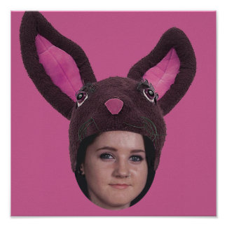 Add Your Photo Pink Bunny Ears Poster