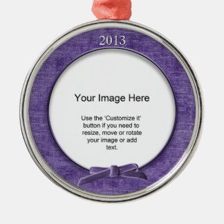 Add Your Photo - Purple Chenille Round Template Christmas Ornament