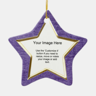 Add Your Photo - Purple Chenille Star Template Christmas Ornament