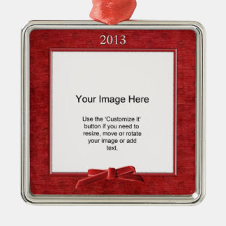 Add Your Photo - Red Chenille Square Template Christmas Ornament