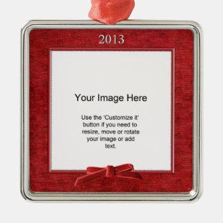 Add Your Photo - Red Chenille Square Template Silver-Colored Square Decoration
