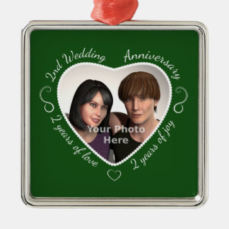 Add Your Photo Second Anniversary Christmas Ornament