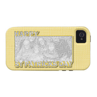 ADD YOUR PHOTO St Pats Cut Out Frame Yellow Clover Vibe iPhone 4 Covers