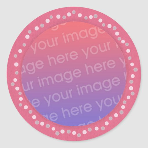 Add your photo stickers, pink dots circle frame