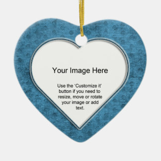 Add Your Photo - Teal Chenille Heart Template Christmas Ornament