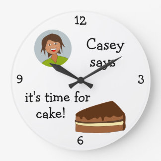 Add Your Photo: 'Time for Cake' Large Clock
