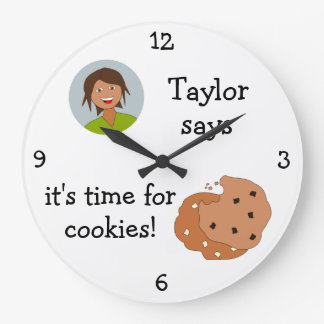 Add Your Photo: 'Time for Cookies' Large Clock