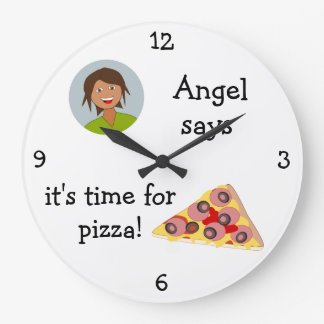 Add Your Photo: 'Time for Pizza' Large Clock