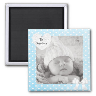 Add your Photo to Blue Polka Dotted Photo Magnet