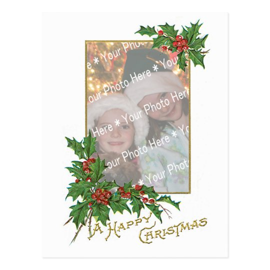 Add-Your-Photo Vintage Happy Christmas Template Postcard